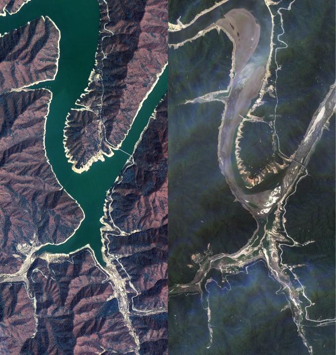 다목적실용위성(아리랑) 2호가 2012년 4월 20일에 촬영한 소양호의 모습(왼쪽)과 아리랑 3호가 지난 17일 촬영한 모습(오른쪽). 수량이 확연히 줄고 강바닥의 면적이 넓어진 모습을 확인할 수 있다. - 한국항공우주연구원 제공